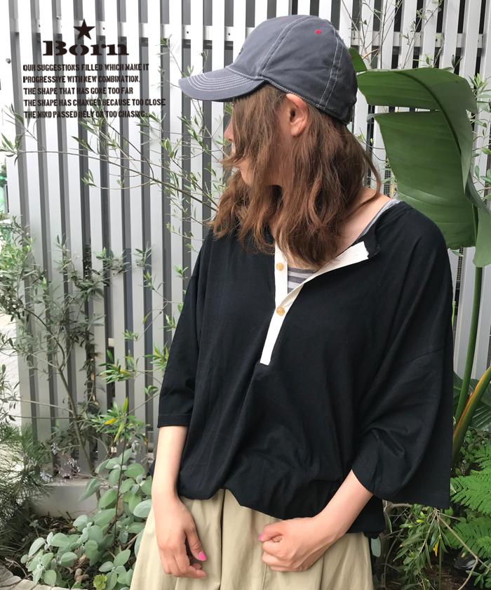 ボーン 【Born】Back Henley-neck Wide Long T-shirts